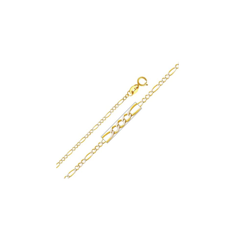 14K Yellow and White 2 Two Tone Gold 1.8mm Figaro White Pave Chain Necklace with Spring Clasp   16 Inches