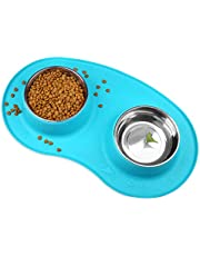 VIVAGLORY Dog Bowl Set with Double Stainless Steel Feeder Bowls and Wider Non-Skid Spill Proof Silicone Mat for Cats Puppies Dogs