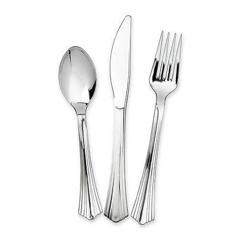 Reflections Cubiertos USA-e-Getta o Reutilizables de Resistente plástico Color Plata Cromado,