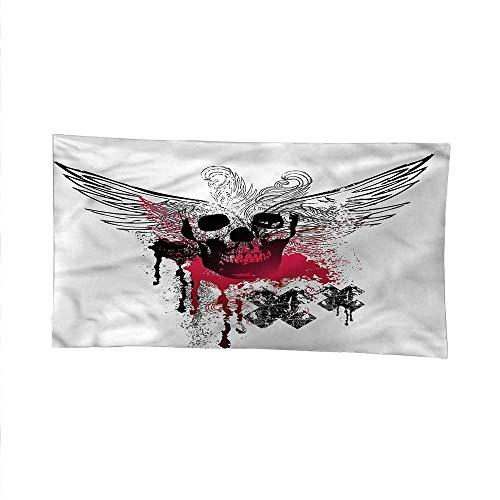 Skulltapestrywall tapestryGrunge Wings and Skull 84W x 54L Inch
