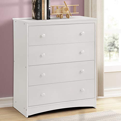 Smart Home White Brass Knobs Clothing Storage Closet Dresser 5 Drawers Chest
