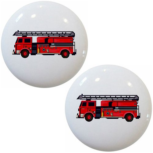 Set of 2 Fire Truck Ceramic Cabinet Drawer Knobs ()