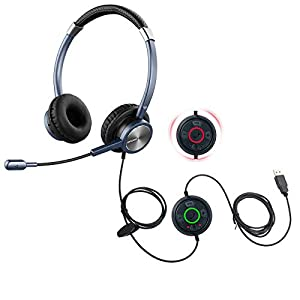 emaiker USB Headset with Noise Cancelling Microphone PC Headphone with Satus Indicator Mic Mute Call Button for Office…