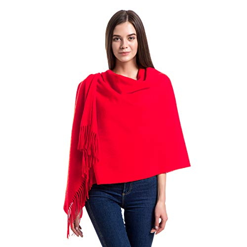 Cashmere Wrap Shawl Stole for Women, Winter Extra Large(79in x 28in) Wool Scarf, Red