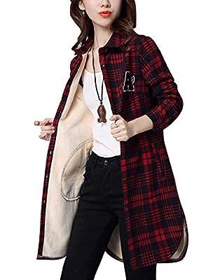 Omoone Women's Winter Long Sleeve Plaid Fleece Lined Flannel Shirt Blouse