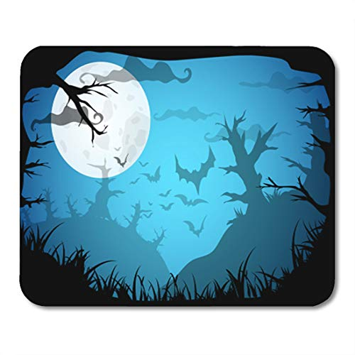 Semtomn Gaming Mouse Pad Halloween Blue Spooky A4 Border Moon Death Trees 9.5