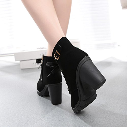 Up Boots Egmy Black Heel Buckle Boots Ankle High Snow Winter Boots Ladies Shoes Platform Lace Womens ZqwS8YEU