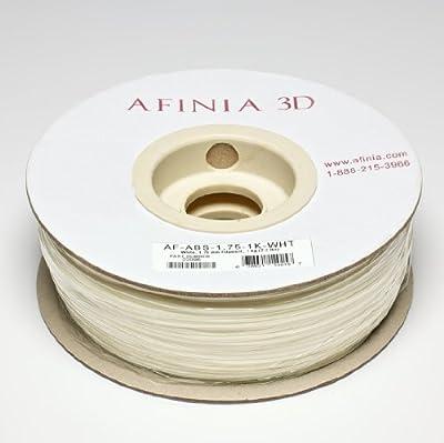 Afinia Value-Line White ABS Filament for 3D Printers - Part Number AF-ABS-1.75-1K-WHT