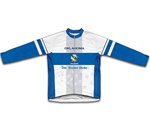 (ScudoPro Oklahoma Flag Long Sleeve Cycling Jersey for Women - Size 3XL)