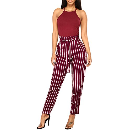(Kirbyates Women High Waist Stripe Harem Pants Women Bowtie Elastic Waist Stripe Casual Pants Wine)