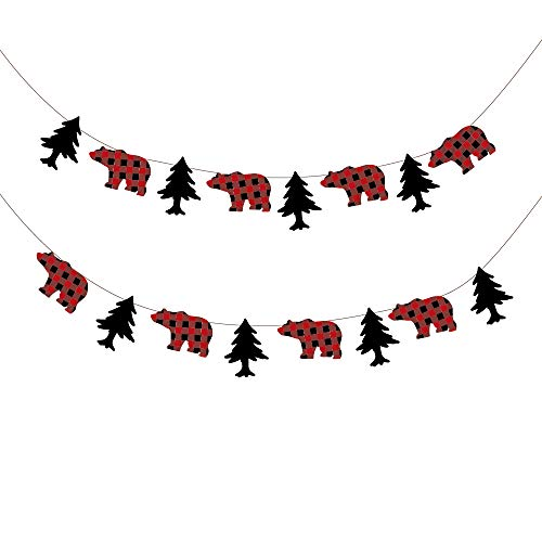 - CC HOME Buffalo Plaid Party Supplies Lumberjack Party Decorations ,Buffalo Plaid Birthday Banner Decoration ,Buffalo Plaid Bear & Tree Pattern Lumberjack Garland Flag,Buffalo Plaid Garland Bunting Banner for Kids ,Boys,Girls ,Outdoor Activities ,Woodland ,Camping ,Birthday Party,Baby Show Party Decoration Supplier