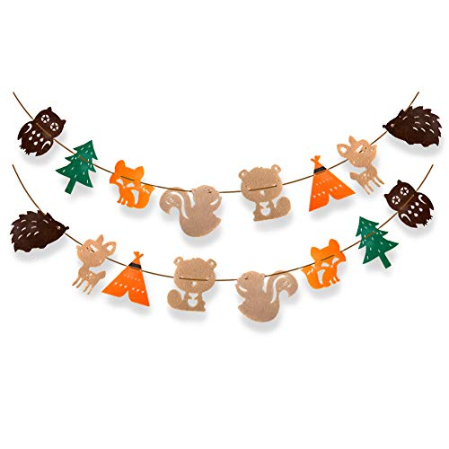 Woodland Creatures Banner Forest Animals Birthday Party Woodland Baby Shower Party Decor