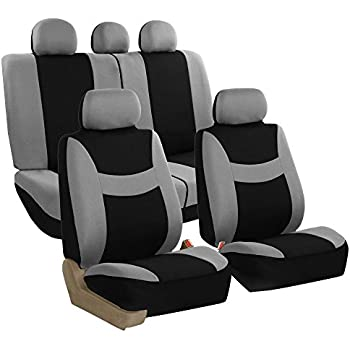 FH GROUP FB030115 SEAT Light Breezy Gray Black Cloth Seat Cover Set Airbag Split Ready Fit Most Car Truck Suv Or Van