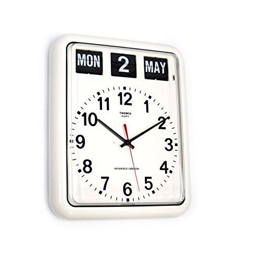 Retro Calendar Wall Clock - Homeloo Twemco German Quartz Retro Modern Calendar Wall Flip Clock BQ12A (white)