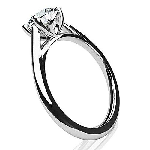 14K Or blanc classique moderne Diamant rond Bague de fiançailles