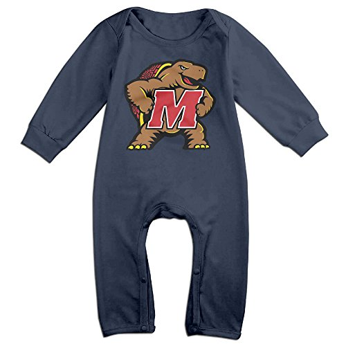 Price comparison product image PCY Newborn Babys Boy's & Girl's University Of Maryland Testudo Long Sleeve Romper Bodysuit Outfits For 6-24 Months Navy Size 6 M