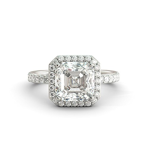 3.05 ct Asscher Cut Charles & Colvard Forever One Moissanite & Round Cut Natural Diamond Halo Engagement Ring Euro Shank Solitaire Pave Solid 14k White Rose Yellow Gold