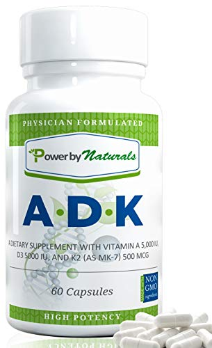 PbyN - Vitamin ADK - Dr Formulated High Potency Vitamins A 5000 iu D3 5000 iu K2 (as MK-7) 500mcg, Supplement for Strong Bone, Immune, and Heart Health, Non GMO,No Soy, 60 Veggie-Capsules (1 Bottle)