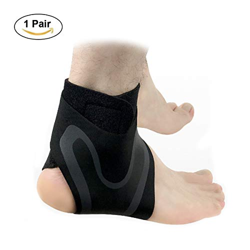 (Ankle Support Brace, Adjustable Ankle Strain Protectors Strap, Against Sprains Arthritis Compression Wrap Stabilizer, Pain Relief Foot Sleeve for Running Basketball Soccer Sport Injury Recovery (XL))