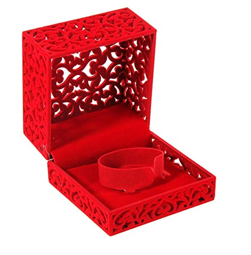 Holmshop Royal Flocked Velvet Bracelet Box Red Jewelry Watch Gift Case Box for Wedding, Engagement Gift Favor Big Size! from Holmshop