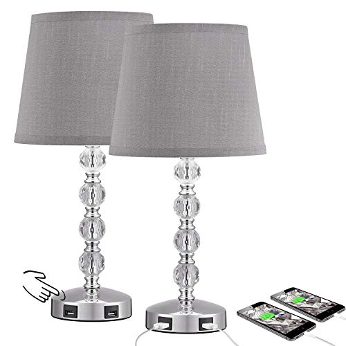 Touch Control 3 Way Dimmable Cute Crystal Table Lamp with 2 USB Charging Ports, Acaxin 17Inch Bedside Light with Modern…