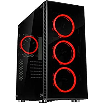 Rosewill ATX Mid Tower Gaming PC Computer Case with Dual Ring Red LED Fans 360mm Water Cooling Radiator Support Tempered Glass and Steel USB 3.0 - ...