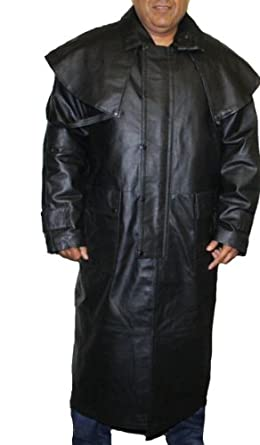 Amazon.com: Mens Black Genuine Leather Trench Coat Full Length ...