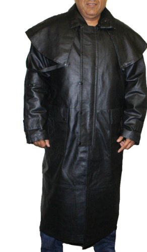 Mens Black Genuine Leather Trench Coat Full Length Duster Lined~ Snap Closure_3XL