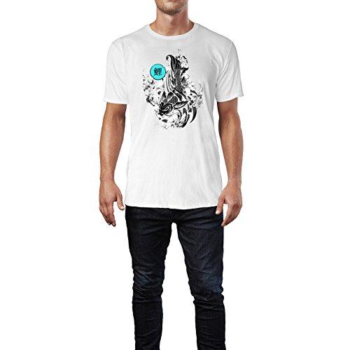 SINUS ART ® Koi mit Typographie im Tattoo Stil Herren T-Shirts in Weiss Fun Shirt mit tollen Aufdruck