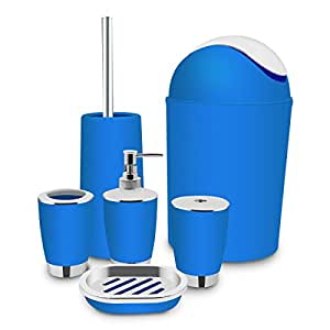 Blue Bathroom Accessories Set Bath Toilet Brush Accessories Set With Trash  Can,Toothbrush Holder And