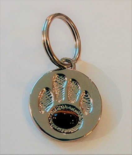 Handcrafted Silver Dog ID tag with Authentic Tigers Eye Gemstone Small, Pet Tags, Cat Tags, Pet Charms, Gifts, Healing Tags