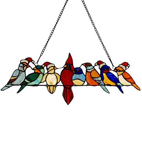 River of Goods  Holiday Bird Suncatcher: Stained Glass Birds on a Wire Santa Hats Hanging Sun Catcher Window ()