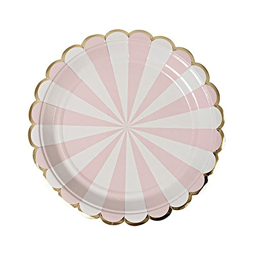 SOCOSY Colorful Scalloped Edge Stripe Paper Plates Disposable Plates Paper Dessert Snack Plate for Party Birthday Wedding 7''(Set of - Plates Pink Dessert Paper 7'