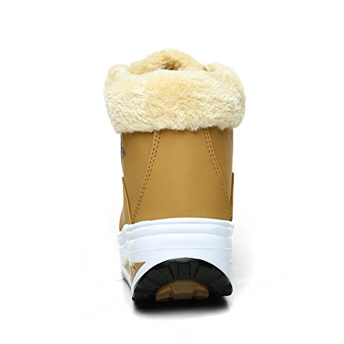 Eagsouni® Damen Winter Warm Plüsch Keilabsatz Plateau Sneaker Höhe Zunehmende Turnschuhe Plateau Freizeitschuhe Schneestiefel Sportschuhe Gelb