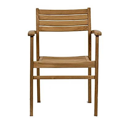 Amazonia Teak Coventry 2-Piece Teak Stacking Chairs - Amazonia Teak Collection 2 stacking armchairs 20w x 22d x 31h seating: 16Dx18Wx16H High Quality Teak Wood (Tectona Grandis) - patio-furniture, patio-chairs, patio - 416GOWpl45L. SS400  -