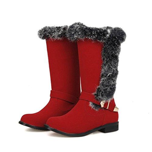 Le Le amp;W Neve Tubo Red Tacchi Larga Larga Taglia P Bassi Femmina Scarpa Stivali della Stivali Fibbia nel Femminili Macchia da Signore Cintura 5dqTn7