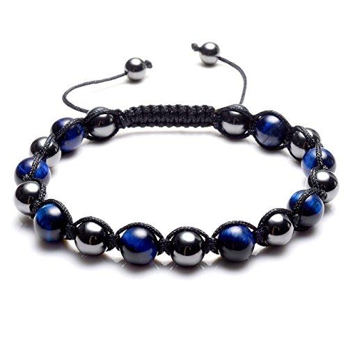 Top Plaza Men's Women's Reiki Healing Energy Natural Tiger Eye Stone Magnetic Hematite Therapy Beads Macrame Adjustable Braided Link Bracelet(Blue Tiger - Fashion Magnetic Therapy Bracelets