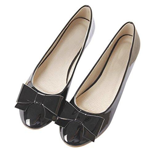 Qzunique Donna Classico Punta Rotonda Balletto In Pelle Pu Slip On Flats Scarpe Bowknot Nero