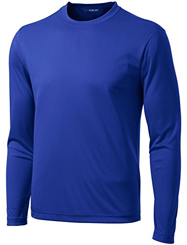 Joe's USA DRI-EQUIP Long Sleeve Moisture Wicking Athletic Shirt-X-Large-True Royal - Blue Long Sleeve Polo Shirt