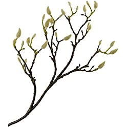 "Rinlong 35"" Artificial Magnolia Branch White Buds Realistic Fake Sprig DIY Floral Crafts Wedding Office Home Décor"