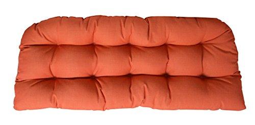 (RSH Decor Sunbrella Canvas Melon Orange Large Love Seat Cushion - Indoor/Outdoor 1 Tufted Wicker Loveseat Settee)