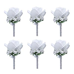 Silk Flower Arrangements ZZIYEETTM 6pcs Artificial Boutonniere Bridal Boutonniere Corsage Rose Silk Flower with Pin and Clip for Wedding Prom Party (White)