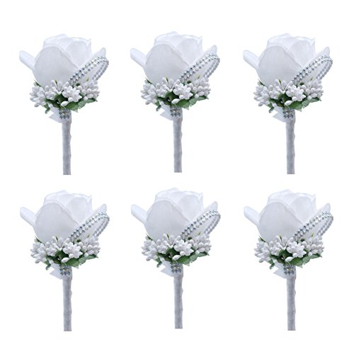 Ziye Shop 6pcs Artificial Boutonniere Bridal Boutonniere Corsage Rose Silk Flower with Pin and Clip for Wedding Prom Party (White) ()