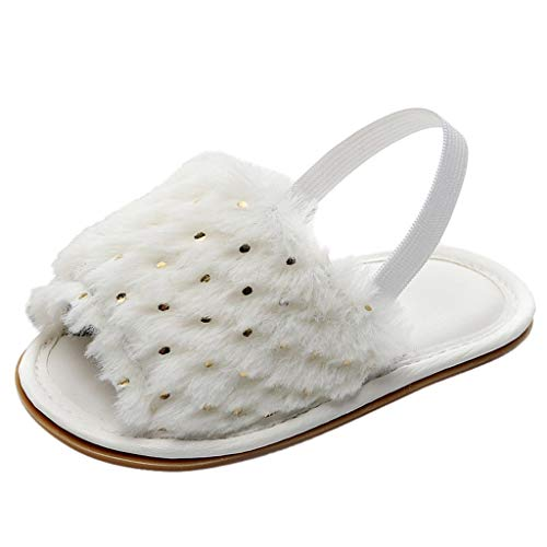 Respctful✿Baby Girls Faux Fur Slip On Flat Sandal Toddler Infant Slide Shoes Elastic Back Strap Flats Shoes for Kids White