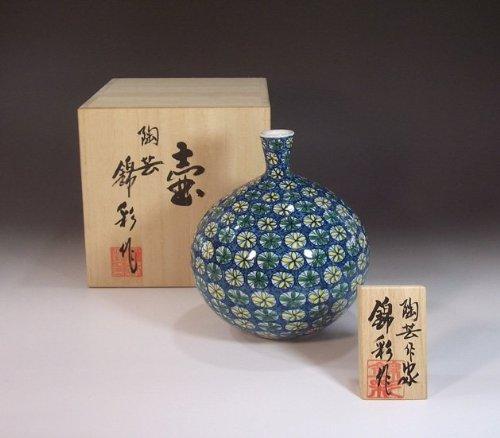 有田焼伊万里焼の高級陶器花瓶飾り壺 贈答品 ギフト 記念品 贈り物 染錦小花藤井錦彩 B00I9U93JW
