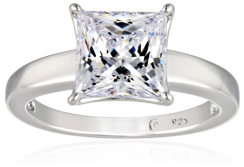 Platinum-plated Sterling Silver Princess-Cut Solitaire Ring made with Swarovski Zirconia (3 cttw), Size 7 ()