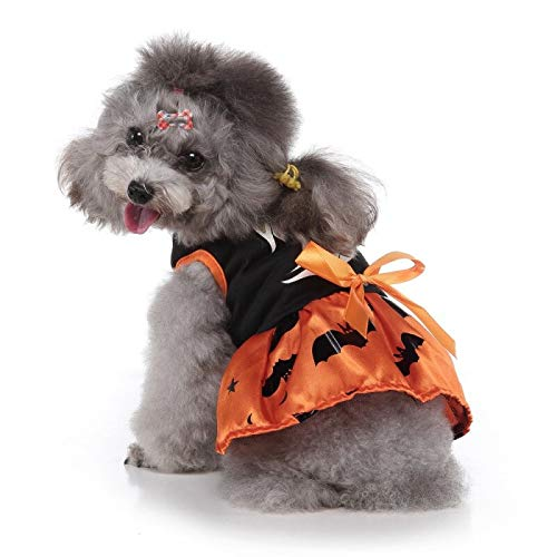 Ollypet Dog Halloween Costume Ghost Pet Dress Cute Tutu Orange Black Combo Party Theme Puppy Apparel Small Medium Sleeveless Shirt Cotton Blend Polyester Comfortable Summer Outfit (M)