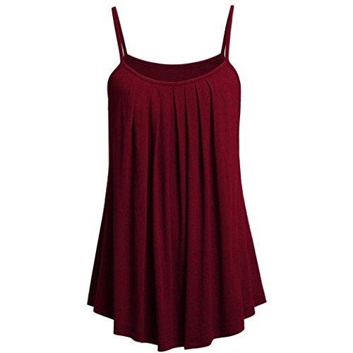 ize Women Tunic Solid Pleated Sleeveless O-Neck Shirt Tops (XL, Wine Red) ()