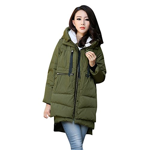 kaifongfu Plus Size Cardigan Outerwear Women Thickening Cotton Jacket Clothes (Army Green,L)