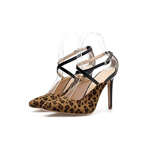 Sandales Hauts À Sexy Femmes Pour Et Talons Brown Pointus Fengjingyuan Léopard Chaussures Souliers Avec xqWdRTYTwZ